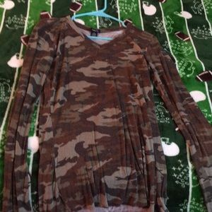 Long sleeved camouflage top